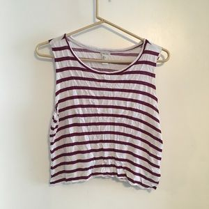Maroon and white cropped muscle tank